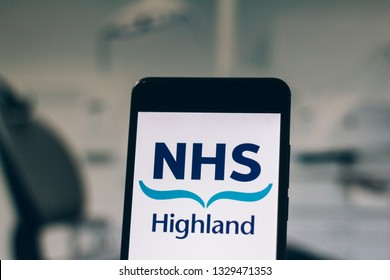 March 04, 2019, Brazil. NHS Highland logo is displayed on the screen of the mobile device. The NHS Highland is one of 14 regions of NHS Scotland, the public health care system in Scotland.