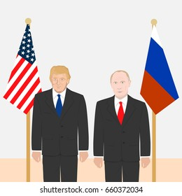 March 06, 2017: editorial illustration of the portraits of the Russian Federation President Vladimir Putin and the USA President Donald Trump on American and Russian flags background.