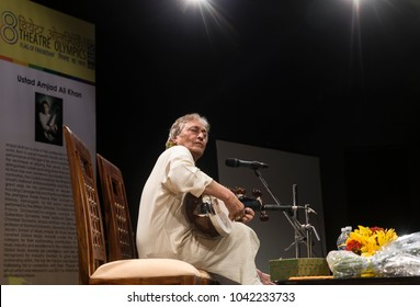 March 06, 2018 - New Delhi, India - Under 'Living Legend' series of the 8th Theatre Olympics, Sarod maestro Ustad Amjad Ali Khan interacted with students of National Scholl of Drama at New Delhi.