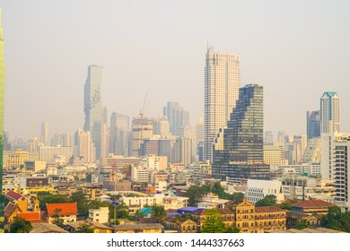 March 06, 2019, view of bangkok city and high-rise buildings in Bangkok during the morning