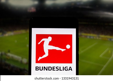 March 07, 2019, Brazil. Bundesliga logo, a professional football league from Germany, displayed on the screen of the mobile device. Competition is what most brings fans to the stadiums.