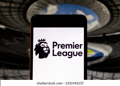 March 07, 2019, Brazil. Premier League logo, a professional football league from England, displayed on the screen of the mobile device. Competition is the most popular league in the world