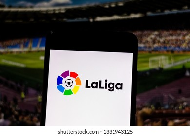 March 07, 2019, Brazil. Primera Division logo of Liga de Fútbol Profesional or La Liga, a professional soccer league from Spain, displayed on the screen of the mobile device.