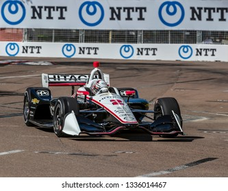 March 08, 2019 - St. Petersburg, Florida, USA: JOSEF NEWGARDEN (2) of the United States goes through the turns during practice for the Firestone Grand Prix of St. Petersburg