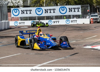 March 08, 2019 - St. Petersburg, Florida, USA: ALEXANDER ROSSI (27) of the United States goes through the turns during practice for the Firestone Grand Prix of St. Petersburg