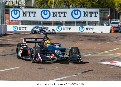 March 08, 2019 - St. Petersburg, Florida, USA: SPENCER PIGOT (21) of the United State goes through the turns during practice for the Firestone Grand Prix of St. Petersburg