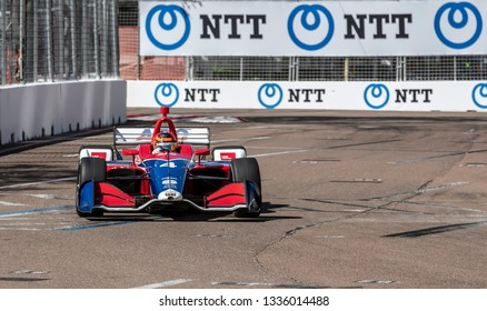 March 08, 2019 - St. Petersburg, Florida, USA: MATHEUS LEIST (4) of Brazil goes through the turns during practice for the Firestone Grand Prix of St. Petersburg