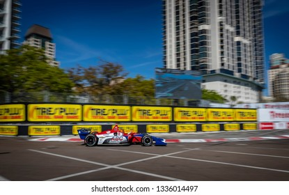 March 08, 2019 - St. Petersburg, Florida, USA: TONY KANAAN (14) of Brazil goes through the turns during practice for the Firestone Grand Prix of St. Petersburg
