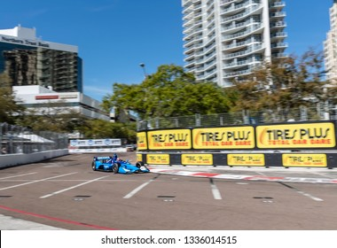 March 08, 2019 - St. Petersburg, Florida, USA: FELIX ROSENQVIST (10) of Sweeden goes through the turns during practice for the Firestone Grand Prix of St. Petersburg
