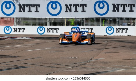 March 08, 2019 - St. Petersburg, Florida, USA: SCOTT DIXON (9) of New Zealand goes through the turns during practice for the Firestone Grand Prix of St. Petersburg