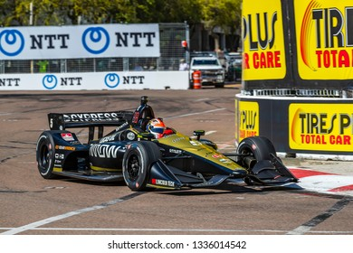 March 08, 2019 - St. Petersburg, Florida, USA: JAMES HINCHCLIFFE (5) of Canada goes through the turns during practice for the Firestone Grand Prix of St. Petersburg