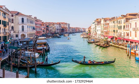 March 09, 2014: Morning traffic on the Grand Canal in Venice in Veneto, Italy