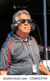 March 09, 2019 - St. Petersburg, Florida, USA: Team owner, Mario Andretti, watches a practice session for the Firestone Grand Prix of St. Petersburg