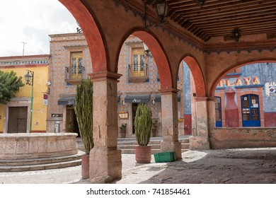 March 1, 2016 Bernal, Mexico: colonial arches in the historic centre of the popular small tourist town