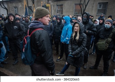 March 1, 2016. Kiev, Ukraine. Azov Civilian Corps picketed the court where judged Stanislav Krasnov one of the activists.