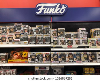 March 1, 2019 - Minneapolis, MN: Funko Pop! Figures on display at Target store. This company produces licensed pop culture collectible dolls