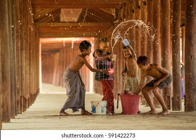 March 10 2016 Salay,Mandalay Myanmar Burmese children are in Songkran having fun.