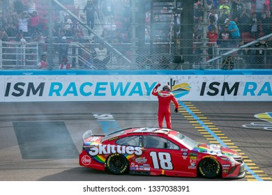 March 10, 2019 - Avondale, Arizona, USA: Kyle Busch (18) wins the Ticket Guardian 500 at ISM Raceway in Avondale, Arizona.