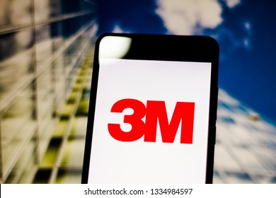 March 10, 2019, Brazil. 3M Company logo on the mobile device screen. It is an American multinational economic group of diversified technology.