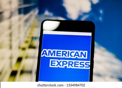 """March 10, 2019, Brazil. Logo of the United States financial services company """"American Express"""" (Amex) on the screen of the mobile device. Company is known for its credit card services."""