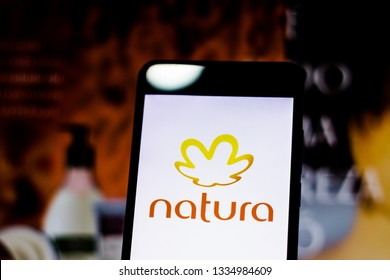 March 10, 2019, Brazil. Natura logo on the mobile device screen. It is a Brazilian company that acts in the sector of treatment products for the face, body, makeup and perfumery.