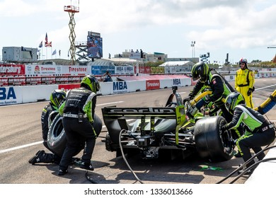 March 10, 2019 - St. Petersburg, Florida, USA: CHARLIE KIMBALL (23) of the United States brings his car in for service during the Firestone Grand Prix of St. Petersburg