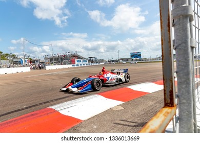 March 10, 2019 - St. Petersburg, Florida, USA: MATHEUS LEIST (4) of Brazil brings his car through the race course during the Firestone Grand Prix of St. Petersburg