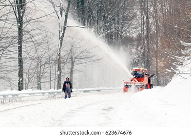 MARCH 10,2011 IGNEADA,TURKEY.National highway staffs are works for snow removal to keep the road open.