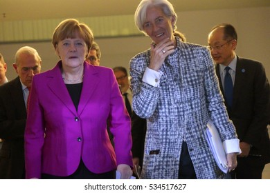 MARCH 11, 2015 - BERLIN: Christine Lagarde, German Chancellor Angela Merkel at a press conference after a meeting with leaders of global financial institutions, Chanclery, Berlin.