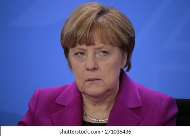 MARCH 11, 2015 - BERLIN: German Chancellor Angela Merkel at a press conference after a meeting with leaders of global financial institutions, Chanclery, Berlin.