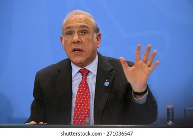 MARCH 11, 2015 - BERLIN: Secretary-General of the Organisation for Economic Co-Operation and Development (OECD), Jose Angel Gurria at a press conference after a meeting in the Chanclery, Berlin