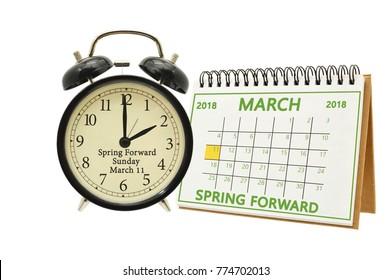 March 11 2018 Spring Forward Calendar and Black Alarm Clock