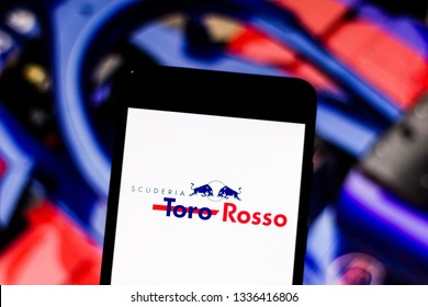"March 11, 2019, Brazil. Team logo ""Red Bull Toro Rosso Honda"" Formula 1 on the screen of the mobile device. Toro Rosso contests the world motorsport championship."