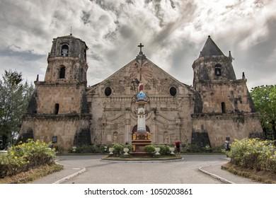 March 11,2018 People waking around Miagao Church at Iloilo city , Philippines