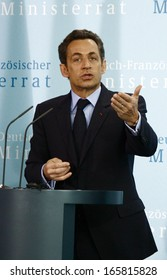 MARCH 12, 2009 - BERLIN: French President Nicolas Sarkozy during a press conference after a meeting with the German Chancellor in the Chanclery in Berlin.