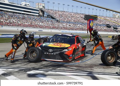 March 12, 2017 - Las Vegas, Nevada, USA: Martin Truex Jr's (78) crew services his Toyota on pit road during the Kobalt 400 at Las Vegas Motor Speedway in Las Vegas, Nevada.