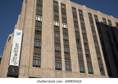 March 12 2017, San Francisco, California, Usa. The headquarters of Twitter on Market Street.
