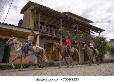 March 12, 2017 Vilcabamba, Ecuador: horseback riding is a popular tourist activity in the isolated indigenous town