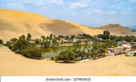 March 12, 2018 - Ica, Peru: Huacachina, a desert oasis and tiny village just west of the city of Ica in southwestern Peru