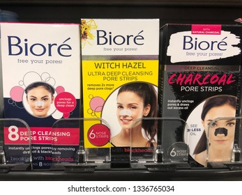 March 12, 2019 - Minneapolis, MN: Varieties of Biore brand pore nose strips on sale at a grocery store. This skin care product removes clogged pores from the nose