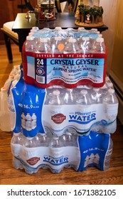 March 12, 2020. Providence RI USA Major panic due to Coronavirus spread causing families to stock up on cases of water to safely wait it out at home.