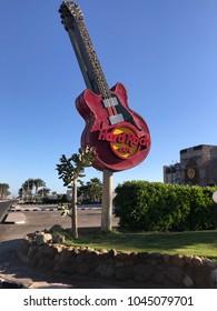 March 13, 2018 - Guitar sign of Hard Rock Cafe in Sharm el Sheikh, South Sina, Egypt