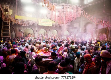 March 13th, 2017. Vrindavan, Utter pradesh,India. Celebration of  the Holi festival in a ancient temple in Vrindavan. The festival signifies the victory of good over evil, the arrival of spring.