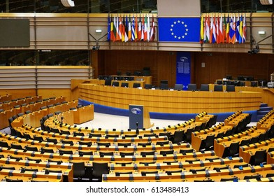 March 14, 2017, Brussels, Belgium: the hall of the European Parliament, which hosts meetings of deputies