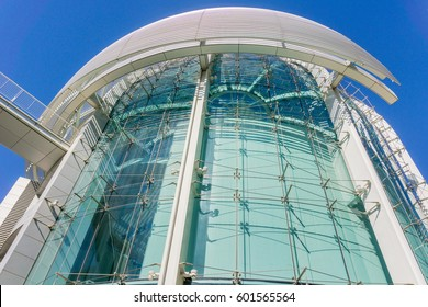 March 14, 2017, San Jose, California/USA - Close up of the modern City Hall building of San José on a sunny day, Silicon Valley, California