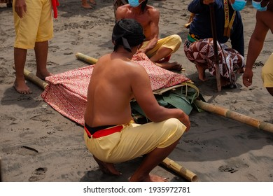 March 14, 2021. a series of Labuhan activities by courtiers at Parangkusumo Beach in the commemoration of Tingalan Dalem Jumenengan Sri Sultan HB X as the King of the Yogyakarta Palace