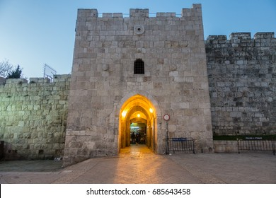 March 15, 2017 -  Herod's Gate or Flowers Gate at dawn, one of the gates to the Old City of Jerusalem, Israel