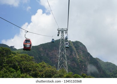 March 15, 2019 - Langkawi Sky Bridge, MALAYSIA. Cable car operation to carry tourists here to the peak in Malaysia.