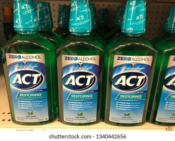 March 15, 2019 - Minneapolis, MN:  Bottles of ACT Restoring Zero Alcohol Anticavity Mouthwash. The oral hygiene mouthwash with fluoride is on display at a grocery store