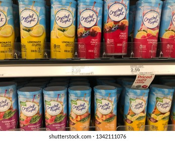 March 15, 2019 - Minneapolis, MN: Containers of Crystal Light brand powered flavored drink mix on sale on a grocery store shelf. This drink mix is low-calorie and diet friendly